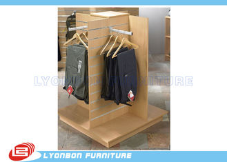 Garment Clothing MDF Wood Slatwall Display Stands With Metal Hangers