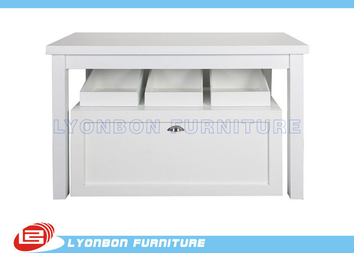 Presenting Goods Retail Display Tables With Open Drawer , Custom MDF Display